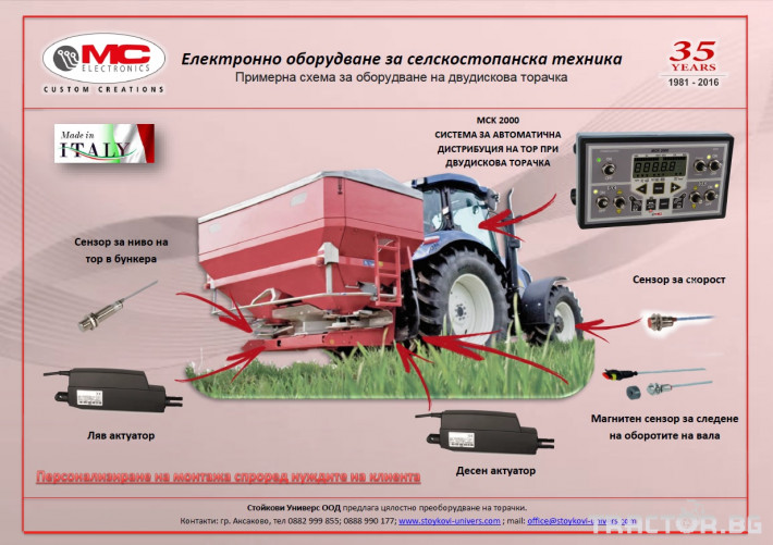 Прецизно земеделие Система за автоматично поддържане на нормата на прилагане - MC Electronics MCM 2000 0 - Трактор БГ